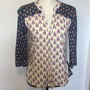 Maeve Colorful Print 3/4 Sleeve Pullover Top Sz-XS